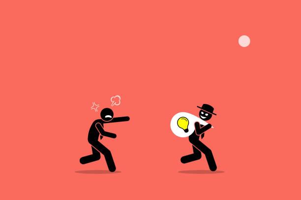 Evil businessman stealing business idea. vector art illustration