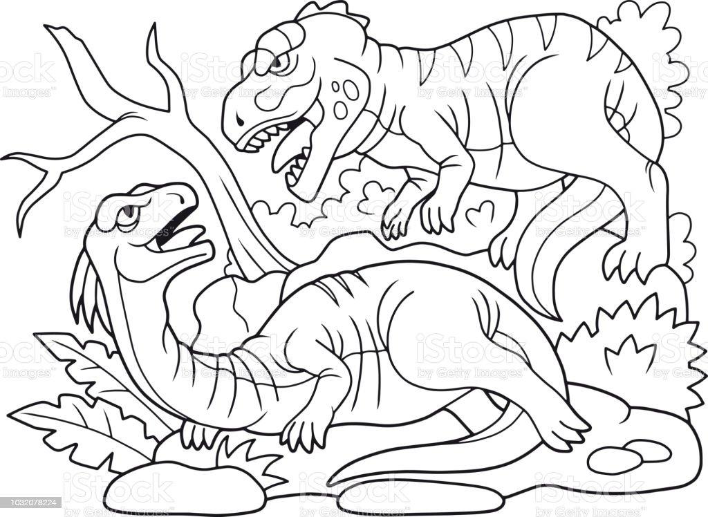 Kotu Etobur Yirtici Otcul Bir Dinozor Saldirdi Stok Vektor Sanati