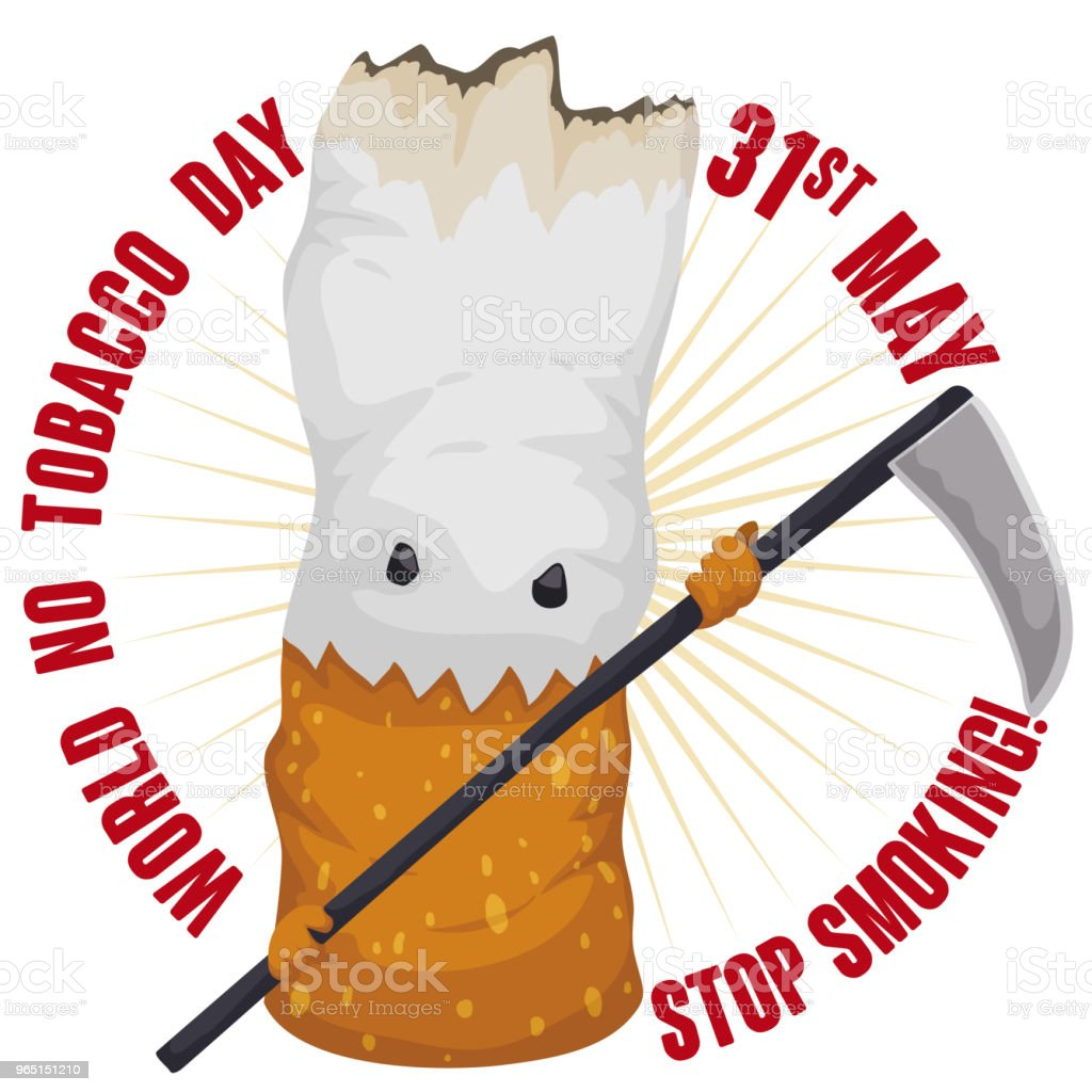 Evil Cigarette with Scythe and Reminder for No Tobacco Day royalty-free evil cigarette with scythe and reminder for no tobacco day stock vector art & more images of addict