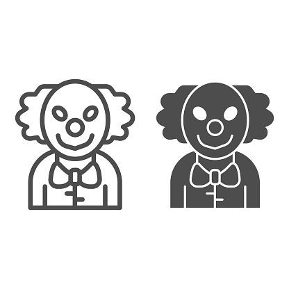 Evil clown line and solid icon, halloween concept, smiling clown sign on white background, scary man on carnival icon in outline style for mobile concept and web design. Vector graphics.