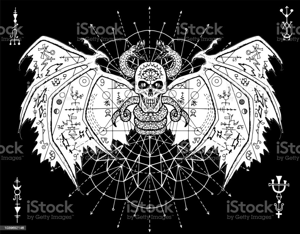 evil demon skull and snakes against background with white circle