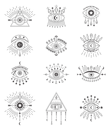 Evil eye icon set vector. Eye of providence and esoteric symbols. Magic sign for tarot carts. Witchcraft talisman, alchemy and magic tattoo illustration in line style. Lucky souvenir
