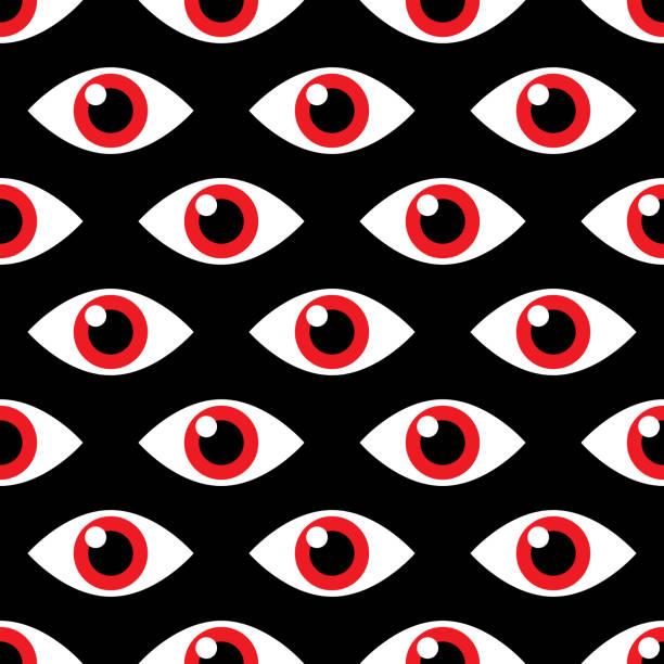 stockillustraties, clipart, cartoons en iconen met boze oog patroon - paranoïde