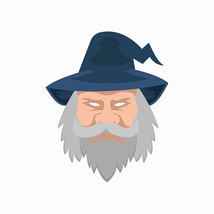 Evil face of a wizard