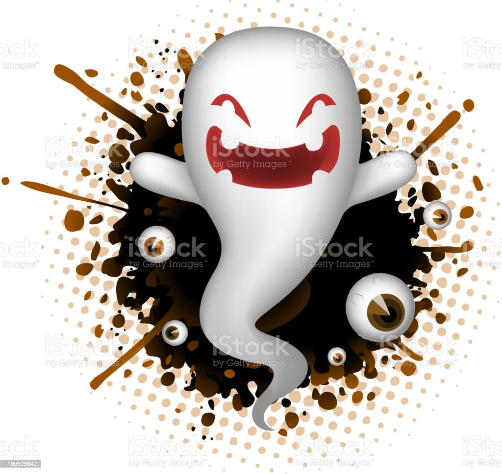 Evil Ghost Laughing Happily Splash Halloween royalty-free stock vector art