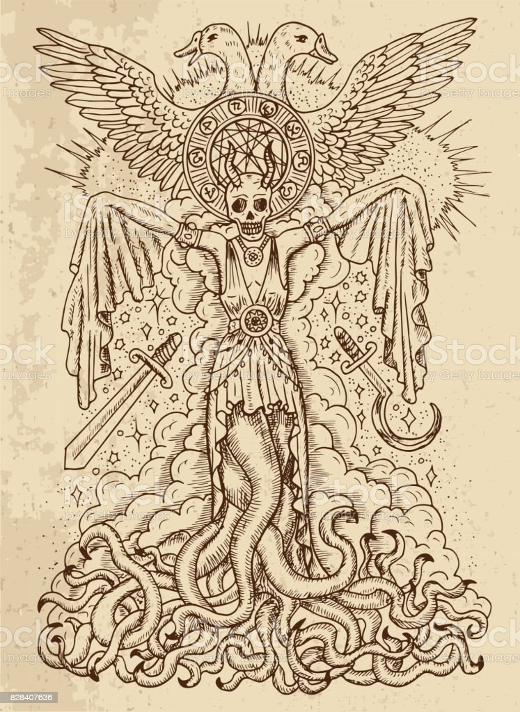 Evil Goddess With Tentacles Skull And Spiritual Symbols On Texture