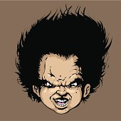 Evil cartoon face with big hair.