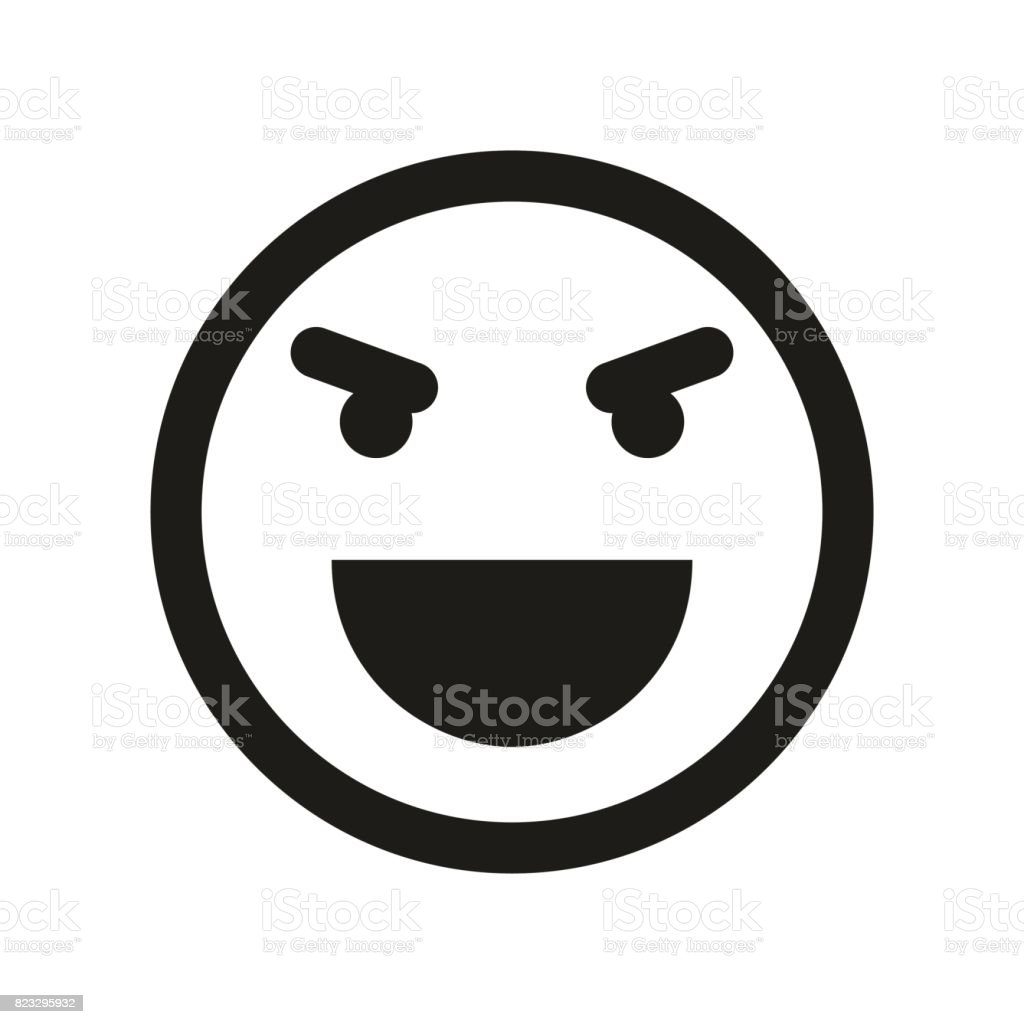 Evil Laugh Smiley Icon Emoji Smiley Stock Illustration