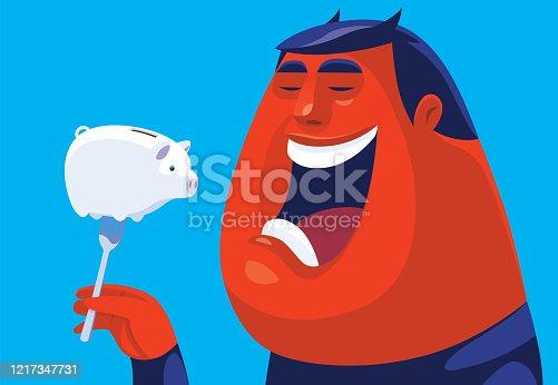 istock evil man going to eat piggy bank 1217347731