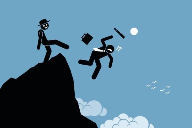 böser mensch treten hinunter seine geschäftspartner von der spitze des hügels. - vertrauensbruch stock-grafiken, -clipart, -cartoons und -symbole