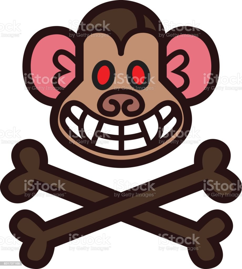 Evil Monkey Head Template Stock Vector Art & More Images of Animal ...