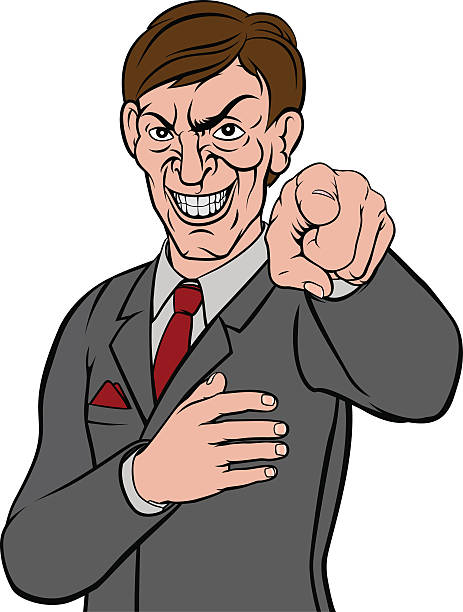 evil pointing business man - evil money stock illustrations, clip art, cartoons, & icons