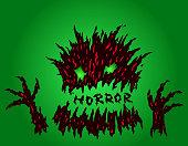 Evil red horror monster. Vector illustration.