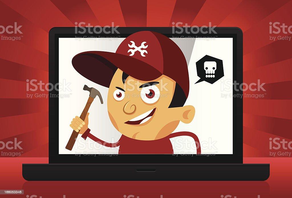 Evil repairman inside laptop royalty-free evil repairman inside laptop stock vector art & more images of adult