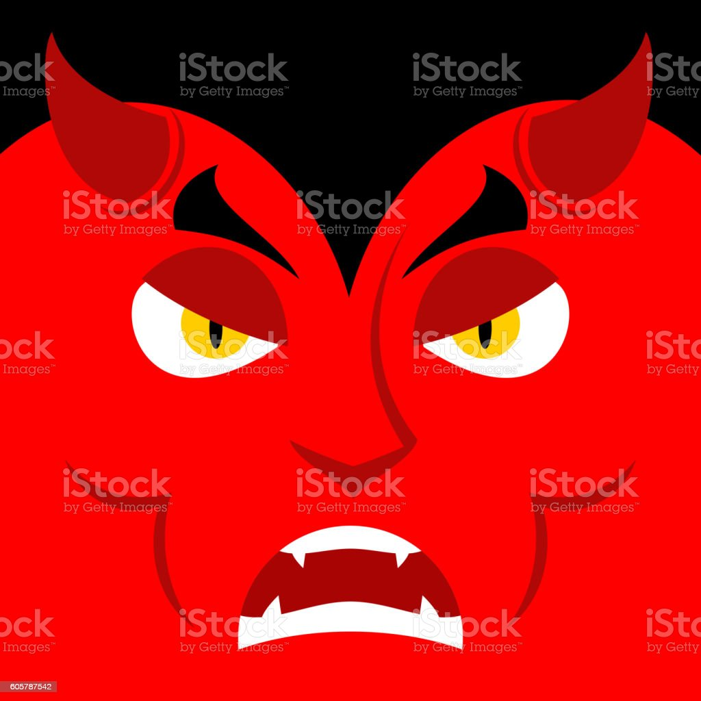 Evil Satan. Angry emotion Devil. Unhappy with demon frowning....