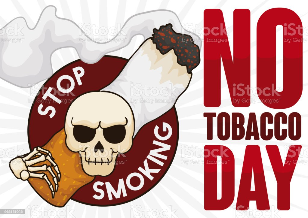 Evil Skull Carrying a Smoking Cigarette for No Tobacco Day royalty-free evil skull carrying a smoking cigarette for no tobacco day stock illustration - download image now