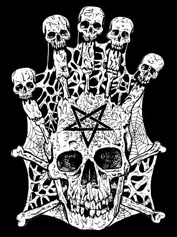 Evil skull with crossbones and pentagram.