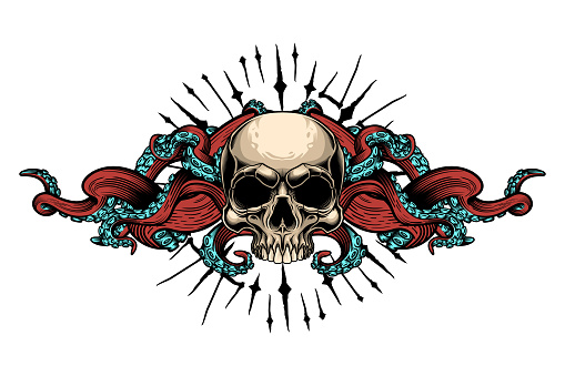 Evil skull with tentacles design.