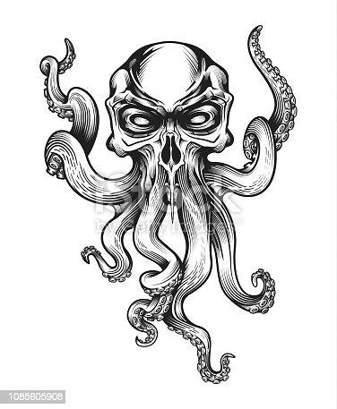 istock Evil skull-octopus mascot. 1085605908