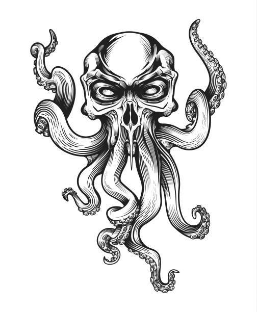 böse schädel-octopus maskottchen. - krake cephalopode stock-grafiken, -clipart, -cartoons und -symbole