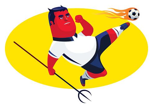 evil soccer player kicking ball
