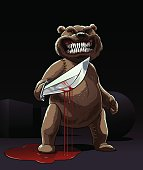 Evil Teddy bear killer stay in blood with knife