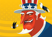 vector illustration of evil uncle same smiling with bald eagles