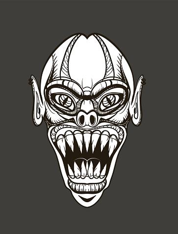evil vampire head, black and white picture