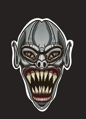 evil vampire head isolated