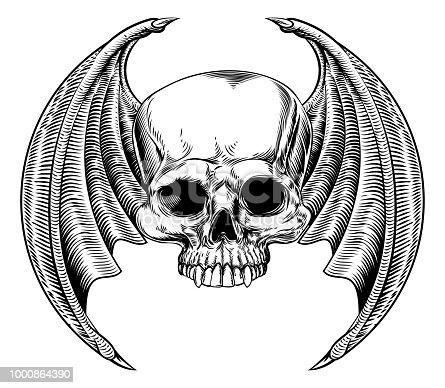 Winged skull with bat or dragon wings drawing in a vintage retro woodcut etched or engraved style