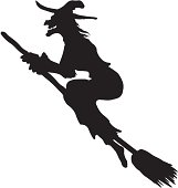 silhouette of a witch flying on a broom