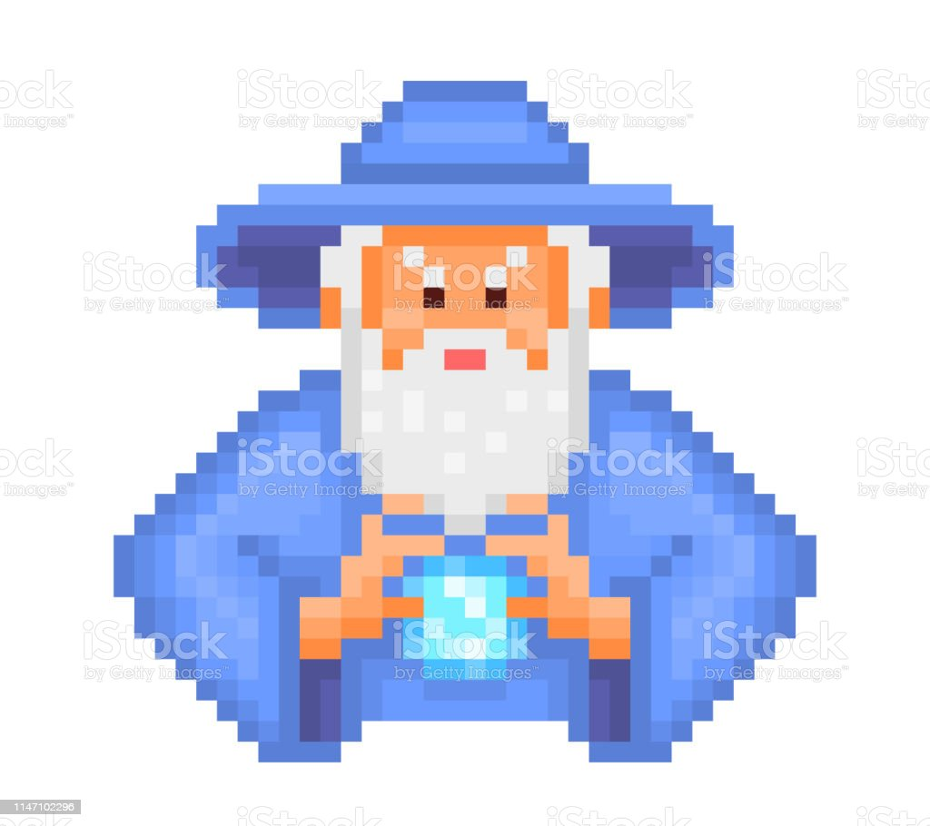 Magicien Mal Mettant Le Sort Personnage Dart De Pixel De