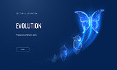 istock Evolution of a butterfly in a digital futuristic style. Insect life cycle, transformation from caterpillar to butterfly. The concept of a successful startup or investment or business transformation 1312386612