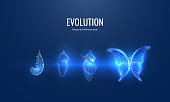 istock Evolution of a butterfly in a digital futuristic style. Insect life cycle, transformation from caterpillar to butterfly. The concept of a successful startup or investment or business transformation 1312386613
