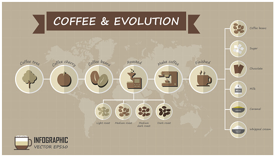 Evolution of coffee infographic elements and grid line with world map background . Food and drink concept . Vector
