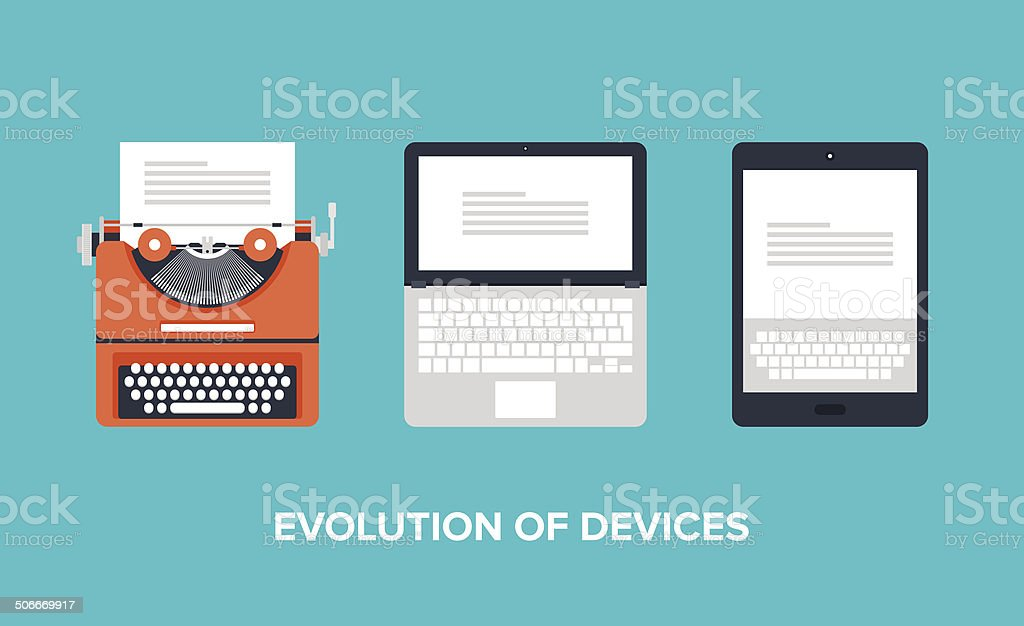 Evolution of devices vector art illustration