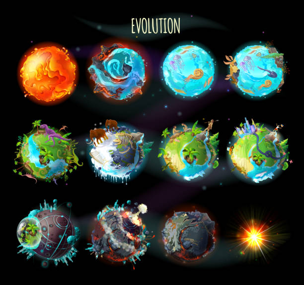 Evolution of Earth, vector concept illustration Stages of the origin of life on Earth, evolution, climate changes, technology progress, cataclysms, planetary explosion, death of planet, vector concept illustration. Timeline, infographic elements origins stock illustrations