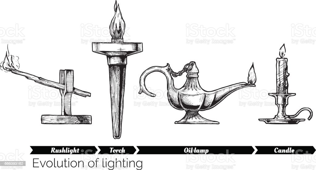 evolution of lighting vector art illustration