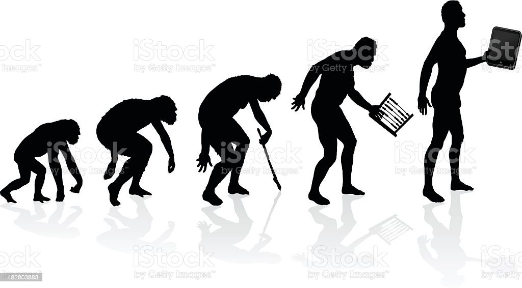 Evolution of Man and Technology - Royalty-free Abacus stock vector