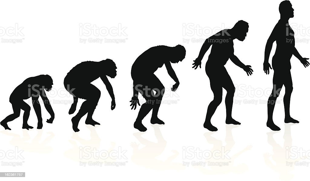 Evolution of man in silhouettes vector art illustration