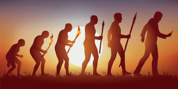 evolution of mankind towards a world hyper connected and led by social networks. - postęp stock illustrations