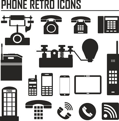 evolution of phone and communication icons on white background. Vector illustration EPS10.