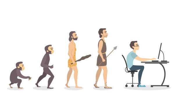 illustrazioni stock, clip art, cartoni animati e icone di tendenza di evolution of programmer. - man evolution
