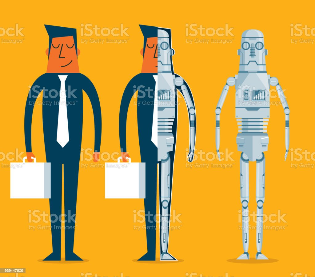 Evolution of robots - Businessman vector art illustration