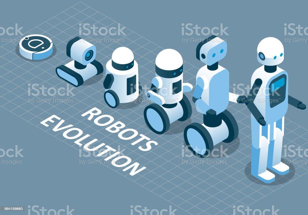 ロボット ベクトル アイソメ図の進化 ベクターアートイラスト