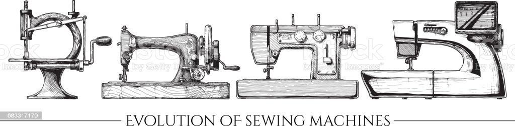 Utvecklingen av symaskiner royaltyfri utvecklingen av symaskiner-vektorgrafik och fler bilder på bläck