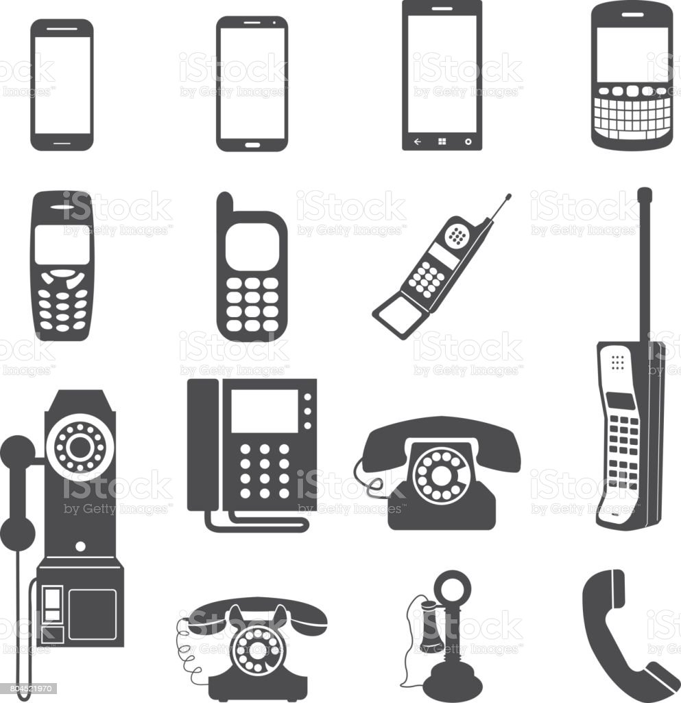 Evolution of telephone icon set.