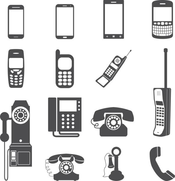 telefon icon set evrimi. - eski stock illustrations