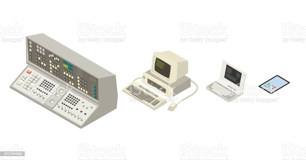 Evolution of the computer vector art illustration