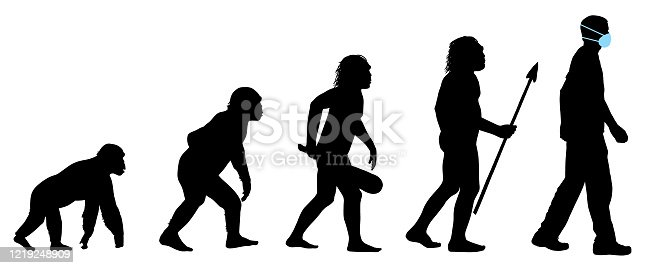 Evolution of a human with medical face mask vector illustrations. From chimp to caveman to human with medical face mask for personal protection from viruses.